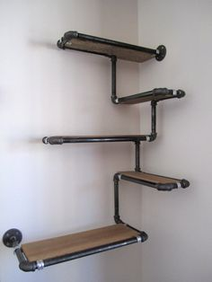 Pipe Wall Shelf with Reclaimed Wood, Custom Pipe Shelves.- Pipe Wall Shelf with Reclaimed Wood, Custom Pipe Shelves. Made To Order Corner Shelf, Reclaimed Fir and Black Iron Pipe, Space Efficient - Industrial Pipe, Industrial Interiors, Industrial Furniture, Plumbing Pipe Furniture, Industrial Bookshelf, Industrial Windows, Industrial Apartment, Steel Furniture, Industrial House