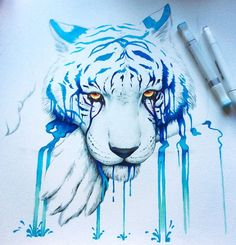 """Blue Tears"" - marker drawing by JoJoesArt on deviantART Marker Kunst, Copic Marker Art, Copic Markers, Art And Illustration, Animal Drawings, Cool Drawings, Marker Drawings, Art Watercolor, Tiger Art"