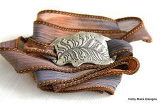 Wrap bracelet, handcrafted fine silver charm, feather, PMC, hand dyed silk ribbon, boho, summer, copper, blue, bracelet via Etsy