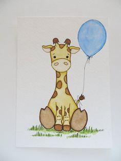 Baby Boy Kindergarten Kindergarten Malerei Original Malerei Giraffe Drucken Kinder Kunst Kinderzimmer Dekor Kinderzimmer Kunst Kinder Kunst Selber Malen