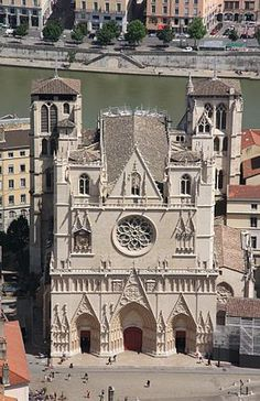 John the Baptist's Cathedral in Lyon) is a Roman Catholic cathedral near the Saone river in Lyon, France, Romanesque Art, Romanesque Architecture, Church Architecture, Lyon France, France Art, Paris Travel, France Travel, Luis Ix, Ef Tours