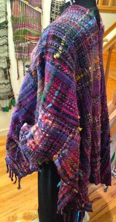 Hand woven  wearable art  saori sleeved  wool by saorisantacruz