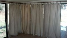 My project using PVC pipe as curtain rods and painters drop cloths as curtains. Turned out great!
