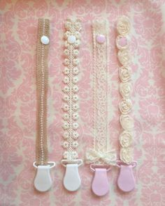 Shabby chic Pacifier clip/ binky clip/ pacifier strap/ pacifier holder by LilyAidenDesigns on Etsy