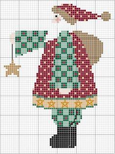 Free Cross Stitch Pattern: Country Santa holding Star.