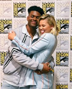 Aubrey Joseph & Olivia Holt | #SDCC Marvel Show, Marvel Actors, Cloak And Dagger Art, Black Man White Girl, Aubrey Joseph, Runaways Marvel, Beautiful Men Faces, Comic Con Cosplay, Olivia Holt