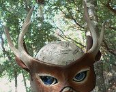 White tail Deer, leather mask with antlers, nature greenman costume