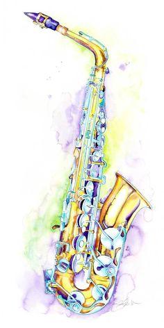 Alto Saxophone Art by Jamie Hansen. Gift for a jazz musician or saxophone player. Music Artwork, Art Music, Indie Music, Soul Music, Musical Instruments Drawing, Saxophone Instrument, Jazz Art, Watercolor Art, Musicals