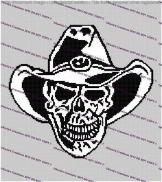 Looking for your next project? You're going to love Cowboy Skull Crochet Graph 160 x 180 by designer Karla59.