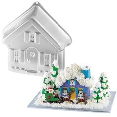 Wilton Stand-up House Cake Pan / Halloween Haunted Mansion / Christmas Gingerbread Village / Valentine Candyland Cottage / Easter Bunny Hutch / School House / Dog House / Animal Farm House Retired by Wilton, http://www.amazon.com/gp/product/B001WN1C9C/ref=cm_sw_r_pi_alp_Qmgdqb18CMSQZ