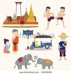 Unseen Thailand travel signs isolated on white background, illustration, vector - stock vector