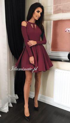 Simple Burgundy Short Dress, Short Homecoming Dress on Luulla Cute Prom Dresses, Grad Dresses, Pretty Dresses, Sexy Dresses, Beautiful Dresses, Dress Outfits, Fashion Dresses, Casual Dresses, Formal Dresses