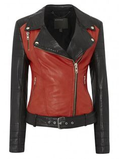 Anda Red & Black Leather Biker Jacket £420