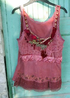 Romantic top dusty pink wine and rosy brown by FleurBonheur