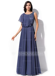 Evening Dresses - $149.99 - A-Line/Princess Scoop Neck Floor-Length Chiffon Lace Evening Dress With Beading Sequins Cascading Ruffles (017052649) http://jjshouse.com/A-Line-Princess-Scoop-Neck-Floor-Length-Chiffon-Lace-Evening-Dress-With-Beading-Sequins-Cascading-Ruffles-017052649-g52649
