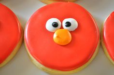 ELMO sugar cookie by TiffanysSweetSpot Elmo Cookies, Easy Sugar Cookies, Cookies For Kids, Cute Cookies, Cupcake Cookies, Cupcakes, Cookie Designs, Cookie Ideas, Elmo Birthday