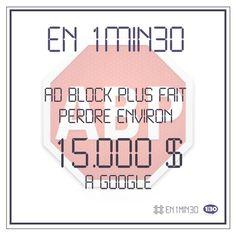 #En1min30, Ad Block Plus fait perdre environ 15.000$ à Google