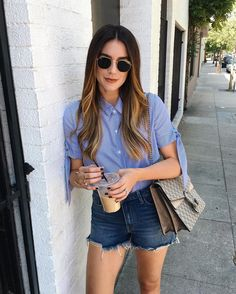 The solid blue shirt gets an upgrade this Spring.