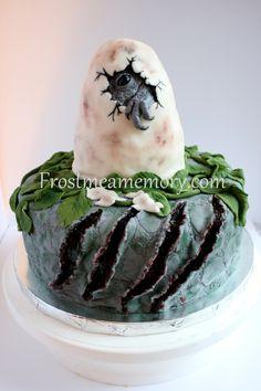 Jurassic World inspired cake. Dinosaur cake. T-Rex cake. Frosmeamemory.com