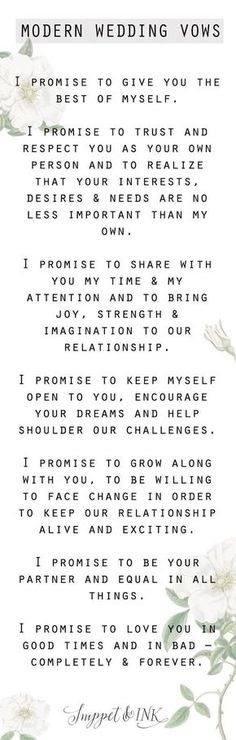 wedding Modern Wedding Vows You'll Want To Steal! – Wedding ideas wedding Modern Wedding Vows You'll Want To Steal! wedding Modern Wedding Vows You'll Want To Steal! Modern Wedding Vows, Wedding Goals, Wedding Tips, Trendy Wedding, Perfect Wedding, Our Wedding, Dream Wedding, Wedding Bands, Wedding Stuff