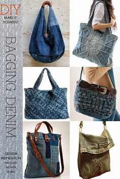 One of the easiest ways to recycle denim is to make a bag knit, crochet, weave or sew be inspired by all the creative ways to bag a denim DiaryofaCreativeFanatic Mochila Jeans, Diy Sac, Denim Ideas, Denim Crafts, Recycled Denim, Handmade Bags, Handmade Leather, Vintage Leather, Diy Clothes