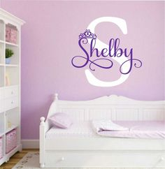 Girl Princess Crown Name Initial Vinyl Wall Lettering Quote Decal