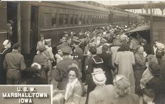 """Marshalltown, Iowa, U.S.W., Soldiers, Troop Train, Troops, Depot, Station, Railroad, WWII by photolibrarian, via Flickr. Postmarked June 7, 1945.  """"Had a short layover here Tues. evening. Had coffee and sandwiches."""""""