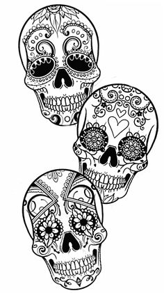 Sugar skulls by superrgeek on DeviantArt - Mandala - Sugar skulls by superrgeek on DeviantArt Skull Coloring Pages, Printable Adult Coloring Pages, Cute Coloring Pages, Coloring Books, Compass Tattoo, Sugar Skull Artwork, Sugar Skull Stencil, Sugar Skull Tattoos, Sugar Skulls