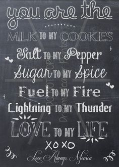 Valentine's Day printable chalkboard art card You are My Milk to my Cooies. $4.00, via Etsy.