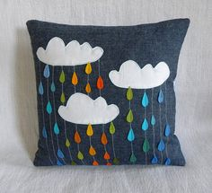 Rainbow Showers Pillow - Etsy/Krakracraft - DIY Idea