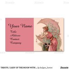 TAROTS / LADY OF THE MOON WITH FLOWERS IN PINK Double-Sided STANDARD BUSINESS CARDS (Pack OF 100)