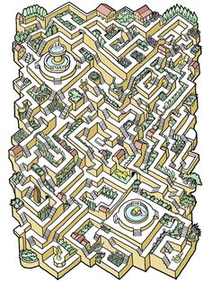 Twenty-Five Difficult And Enjoyable Mazes Are The Perfect Distraction - We share because we care. A resource for sharing the latest memes, jokes and real stuff about parenting, relationships, food, and recipes Mazes For Kids, Activities For Kids, Maze Drawing, Golden Frog, Labyrinth Maze, Printable Mazes, Maze Design, Isometric Drawing, Maze Puzzles