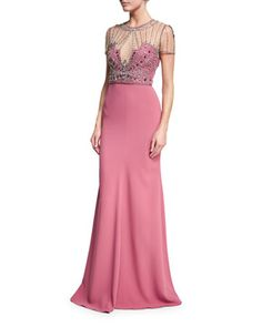 Beaded-Bodice+Illusion+Gown,+Rosewood+by+Jenny+Packham+at+Neiman+Marcus.