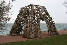 In Evian this winter, they have had an exhibition of art made from driftwood collected along the shores of Lake Geneva, Switzerland.