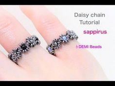 (10) 【ハンドメイド】簡単!ビーズリングの作り方 ビーズステッチ(デイジーチェーン)で編むデミビーズを使ったレシピ How to : daisy chain DIY Beaded Rings - YouTube