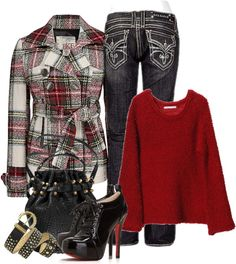 """""""Plush Red Sweater"""" by melindatg on Polyvore"""