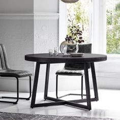 Black Boho Chic Round Dining Table