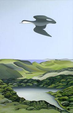 'Kawaupaku, Te Henga' oil painting by Don Binney, NZ. (1967) University of Auckland Collection.