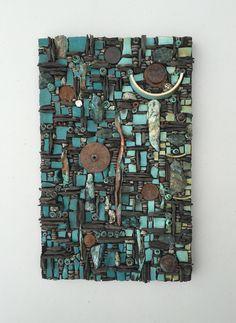 Salvage: Pottery, pebbles, shale, nails, copper, recycled metal, pyrite. Karen Klassen Mosaics.ca