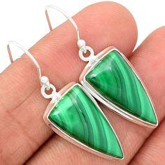 Malachite 925 Sterling Silver Earrings Jewelry MLAE533 - JJDesignerJewelry