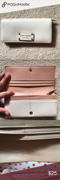 Kate spade off white wallet full size Fair condition, has marks on inside and outside as shown and money area has some dirt. Priced according to condition please keep that in mind! Great wallet with lots of storage space for coins bills and cards! kate spade Bags Wallets