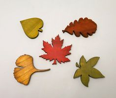 Set of 5 wooden magnets. Red, yellow, green and brown tree leaves. Handmade wood magnets for kitchen fridge or office. - pinned by pin4etsy.com