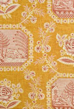 Simply Toile  fabric .. X ღɱɧღ    ⊰✿ Vivarais Toile Fabric Traditional Toile de Jouy fabric in Coral and gold.