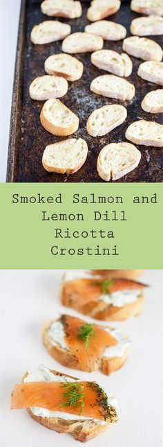 A light and simple holiday crostini appetizer that's topped with flavorful smoked salmon and a refreshing lemon dill ricotta spread.