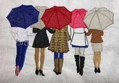 5 Sisters See You Through the Rain Embroidery Design Best Friends Cartoon, Friend Cartoon, 3 Friends, Best Friend Drawings, Bff Drawings, Drawing Sketches, Drawing Ideas, Sisters Drawing, Sisters Art