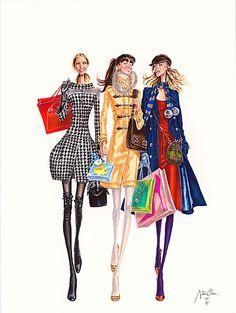 fashion illustration, fashion, illustration, elena arturo, girls, shopping
