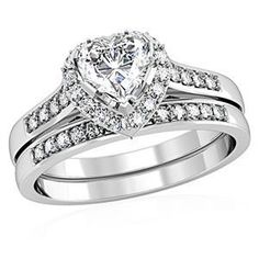 Heart Shape CZ Wedding Band Rhodium Plated Ring Set