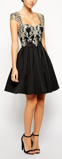 Gorgeous fit & flare with embellished bodice, this would look lovely with a long skirt, ball gown.