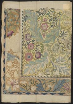 Design for an embroidered panel with border by William Morris, Musuem number part of the May Morris Bequest William Morris Art, William Turner, Textile Patterns, Textile Design, Print Patterns, Floral Patterns, Art Nouveau, Georges Seurat, Wow Art