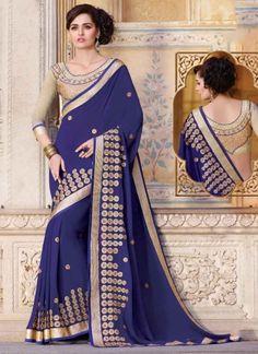 Blasting Blue Embroidery Booti Work Georgette Designer Party Wear Sarees http://www.angelnx.com/Sarees/Party-Wear-Sarees